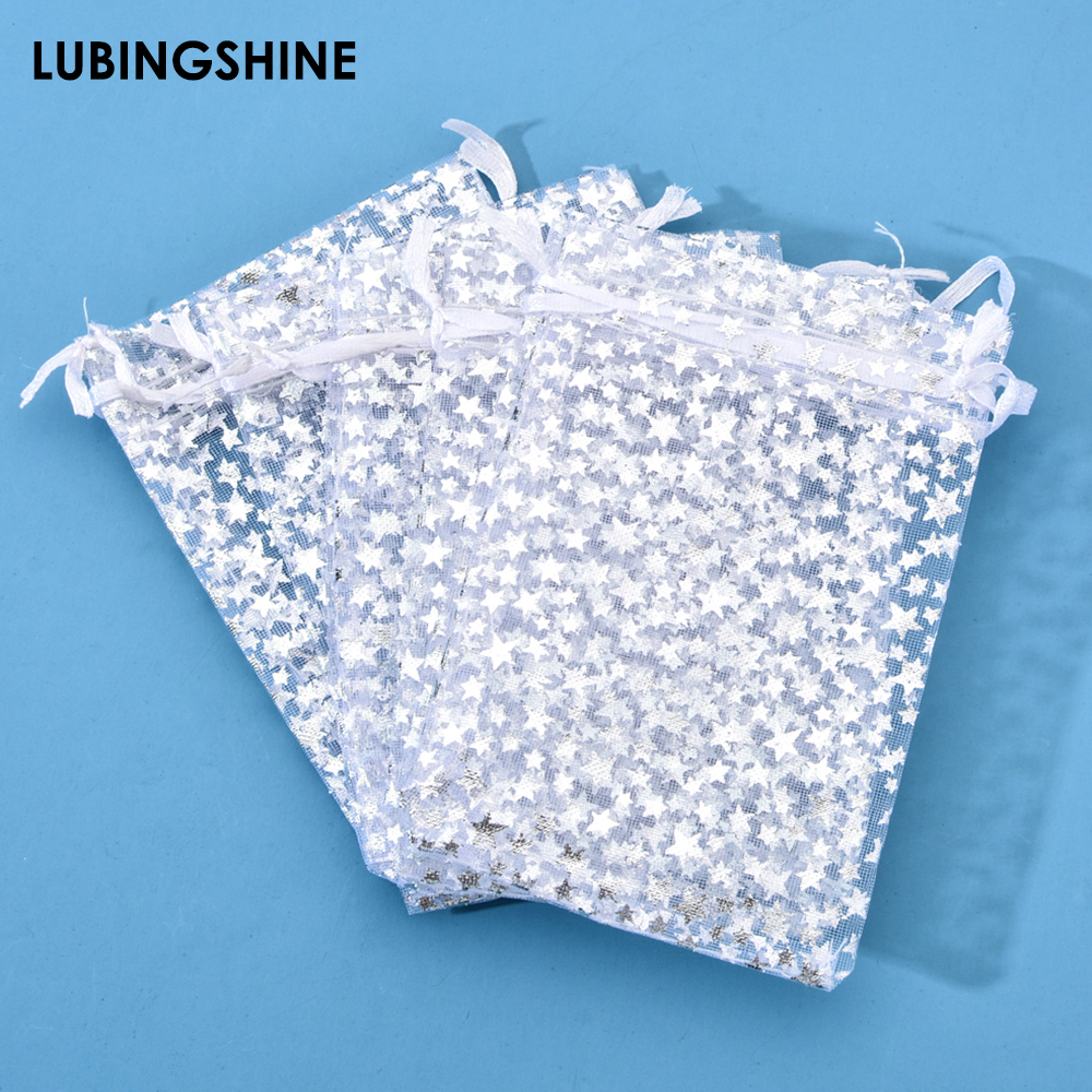 50Pcs/lot High Quality Fashion Star White Organza Bags Nice Jewelry Packaging Bags Wedding Christmas Gift Pouches Bag 9x12cm