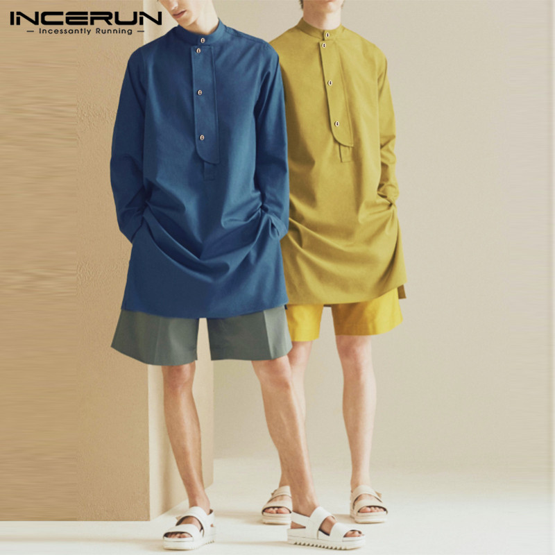INCERUN 2019 Fashion Long Shirt Men Stand Collar Button Solid Color Long Sleeve Tops Indian  Suit Vintage Casual Shirts Men