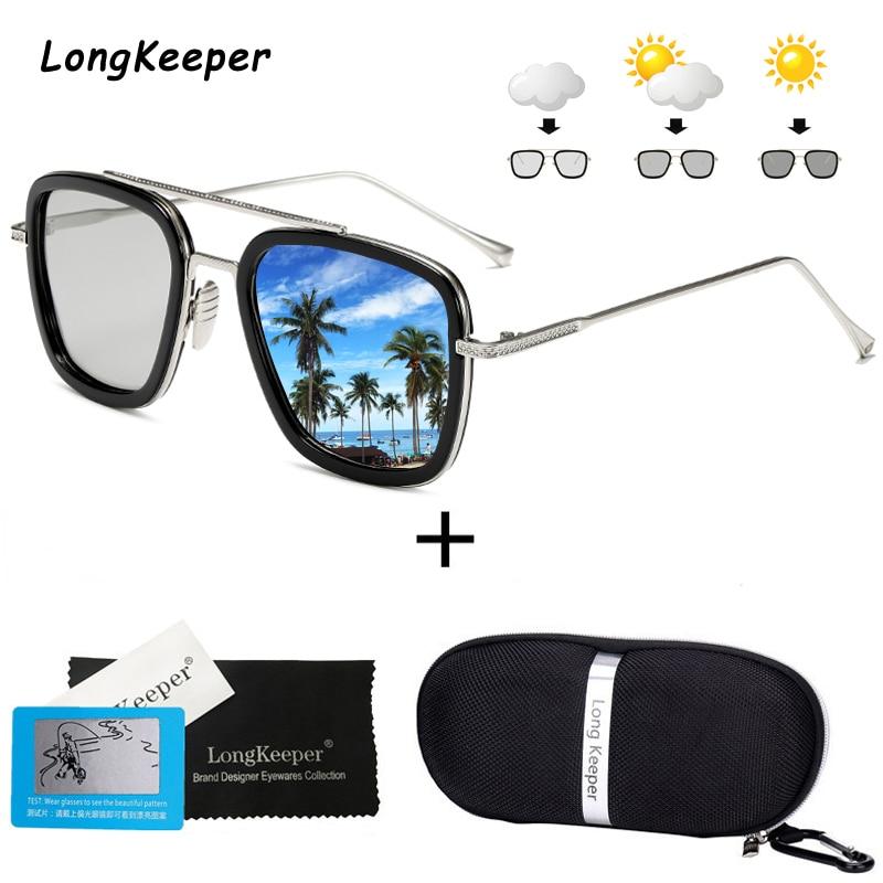Luxury Steampunk Men Photochromic Sunglasses Tony Stark Iron Man Sun Glasses Retro Metal Eyewear Male Sunglasses with Case Gift