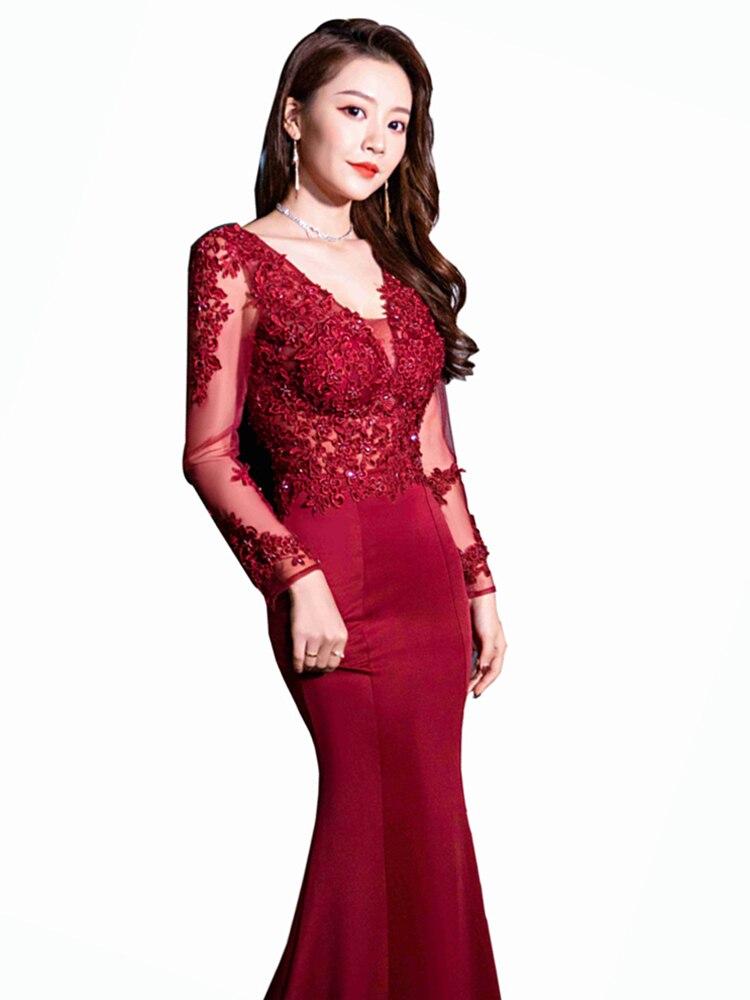 High-end Custom Handmade Applique Evening Dress 2020 Long Vestidos De Fiesta De Noche Noble Dresses Woman Party Night Sexy Robe
