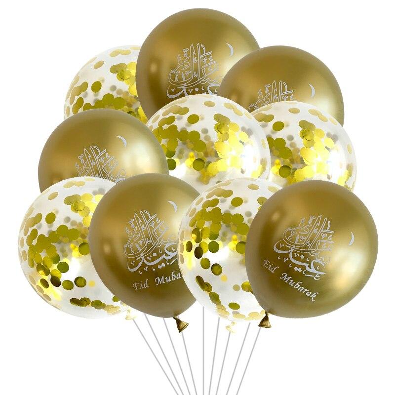 Lqdiantang10pcs 12 polegada ramadan kareem látex balões eid mubarak decoração confetes balões islam muçulmano eid fontes de festa