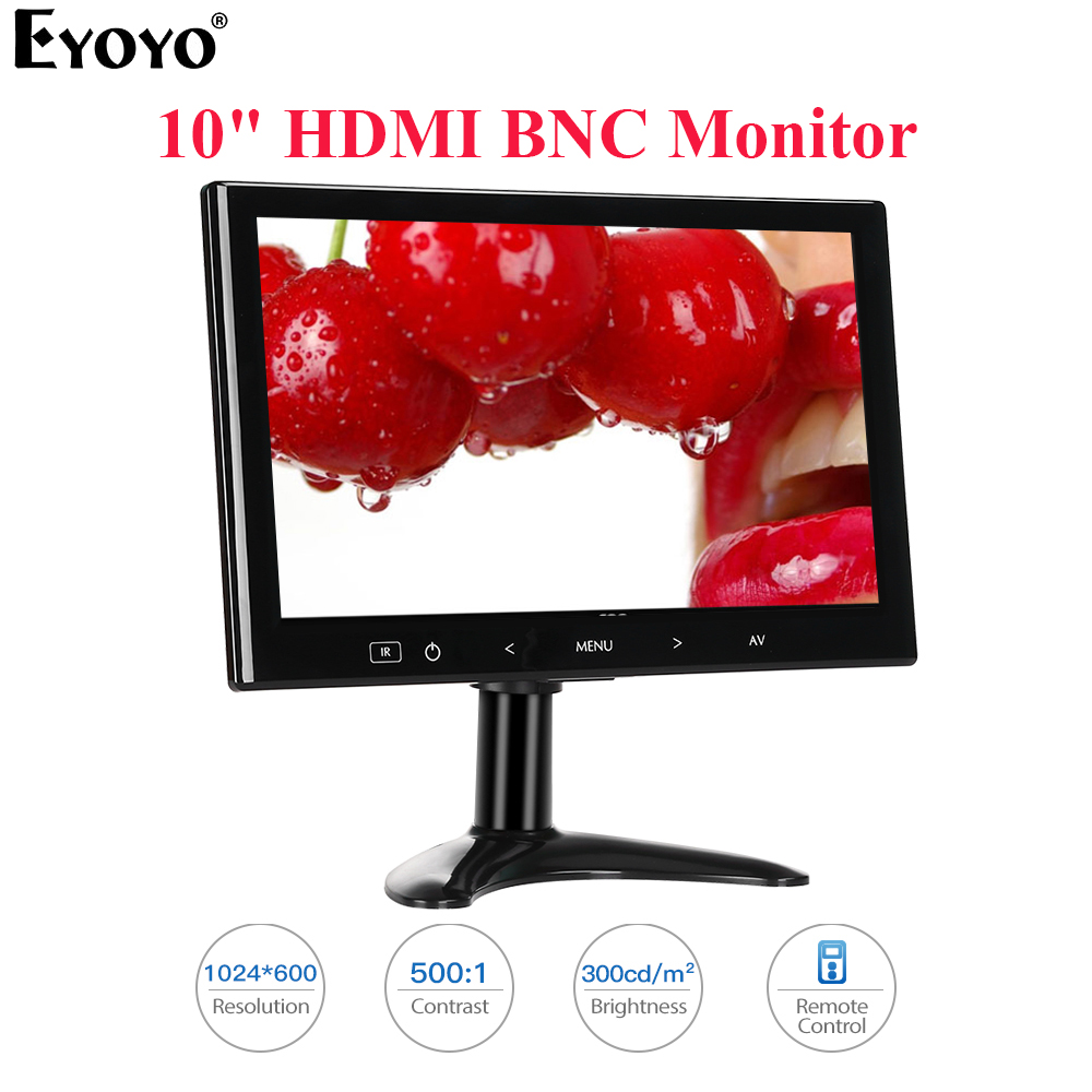 Eyoyo EM10M 10 Inch Mini TV Computer PC Monitor 1024X600 LCD Screen With HDMI VGA AV For CCTV Security Camera Car Rear View