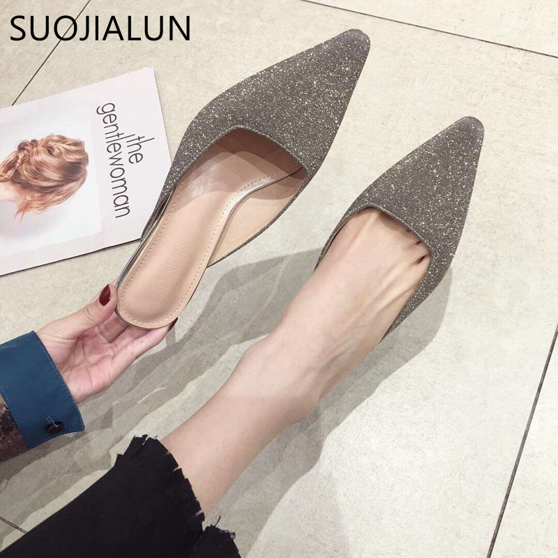 SUOJIALUN 2020 Spring Brand Women Slip On Mules Shoes Ladies Fashion Bling Fabric Outdoor Slippers Thin High Heel Shoes For Part