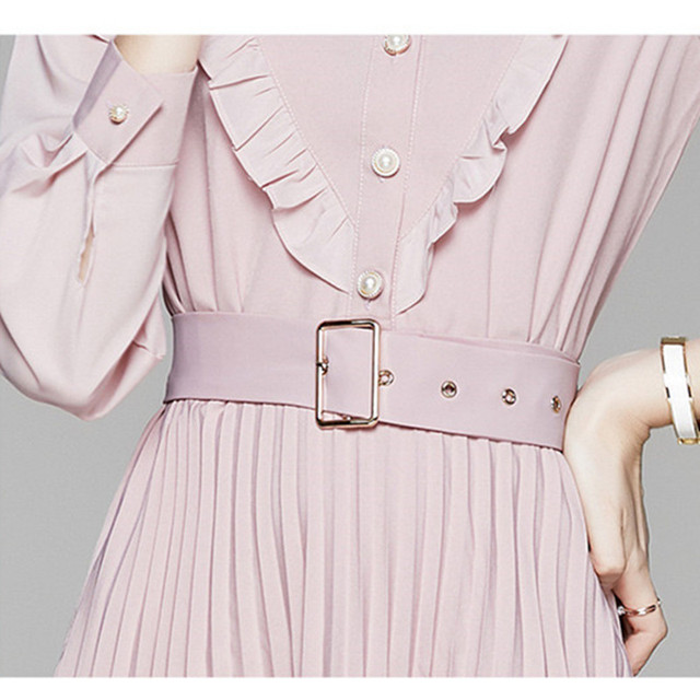 2020 New Autumn Ruffles Pink Chiffon Dress Women Long Sleeve Slim Waist Belted Pleated Dress Female Pearls Button Midi Dress 6