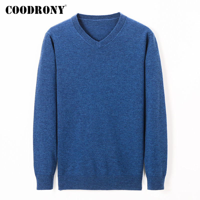 COODRONY Brand Sweater Men Merino Wool Pullover Men Casual V-Neck Pull Homme 2019 Winter Cashmere Sweaters Jersey Hombre C3003