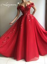 Red Evening Dress Ball Gown Long Off Shoulder Appliques Vestido De Festa Prom