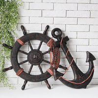 Mediterranean Style Fashion Ship Wooden Boat Beach VINTAGE Wood Steering Wheel Nautical Fishing Net Home Wall Decor Gifts