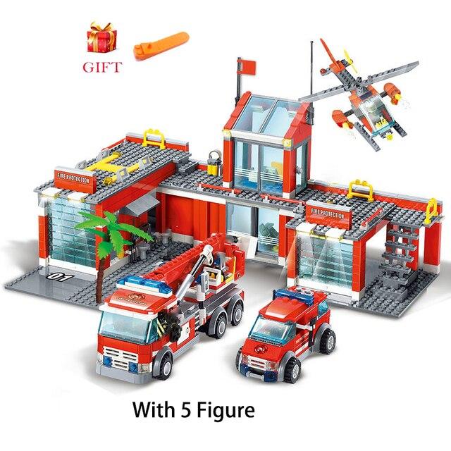 City Fire Station Model Building Blocks Sets Construction Firefighter Truck Educational Bricks Playmobil Toys For Children Gifts
