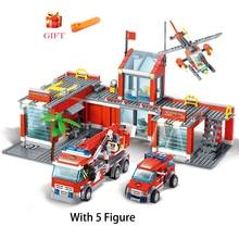 Ensembles de Construction de maquette de Station de feu de ville, camion de pompiers, briques éducatives Playmobil, jouets pour enfants, cadeaux