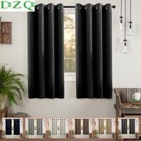 DZQ-cortinas para sala de estar, dormitorio, cocina, pequeñas, Color sólido, cortinas de decoración del hogar