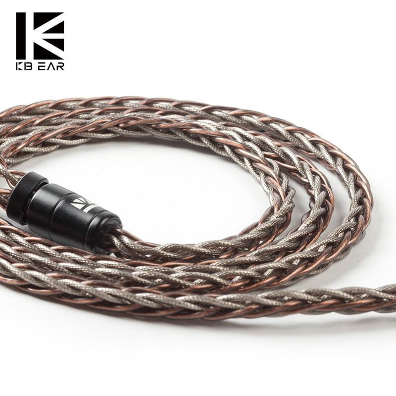 KBEAR rhyme 8 core UPOCC однокристальный медный кабель 2pin/MMCX/QDC/TFZ с разъемом из материала 2,5/3,5/4,4, кабель для наушников KS2