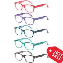 Gafas de lectura con bisagra de resorte para hombres y mujeres, anteojos de lectura con montura ovalada, coloridas, de calidad, de 0,5 a 6,0, 5 uds.