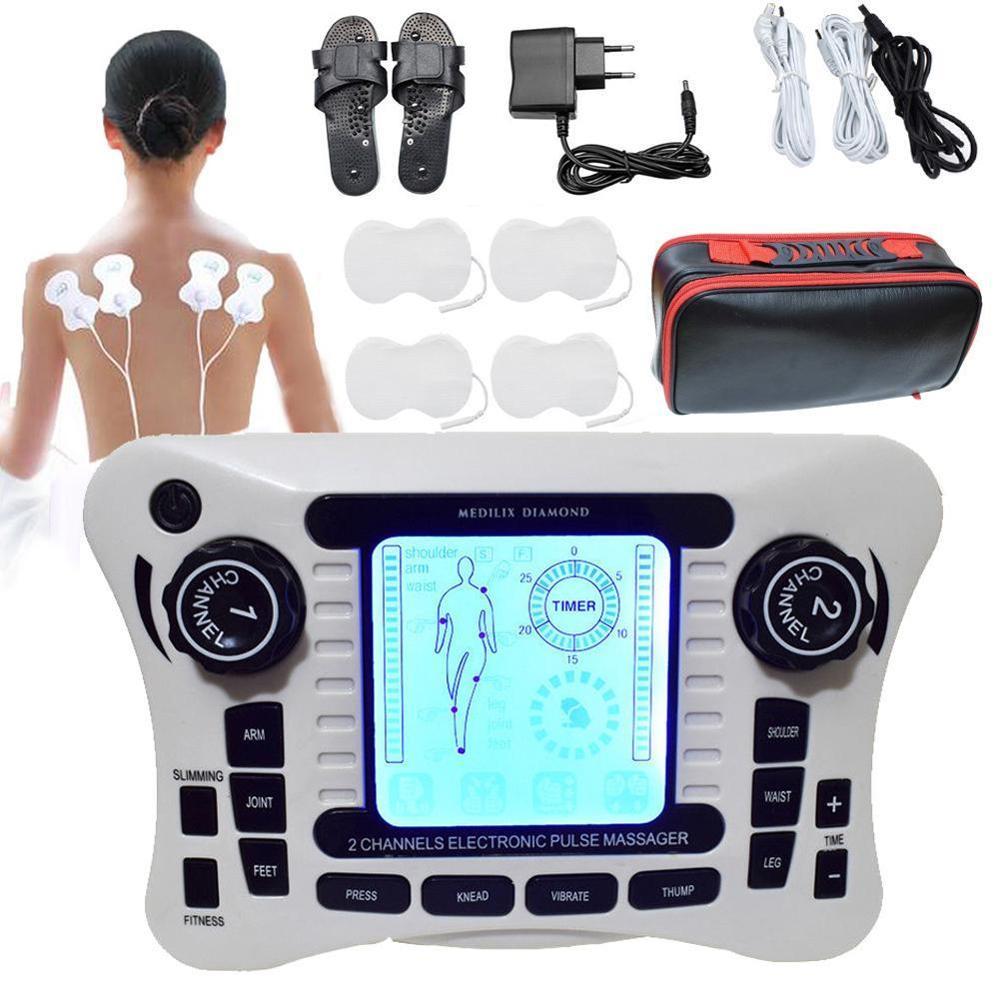 Unité de dizaines/sortie à double canal dizaines EMS soulagement de la douleur/stimulateur musculaire nerveux électrique/masseur de thérapie numérique/physiothérapie