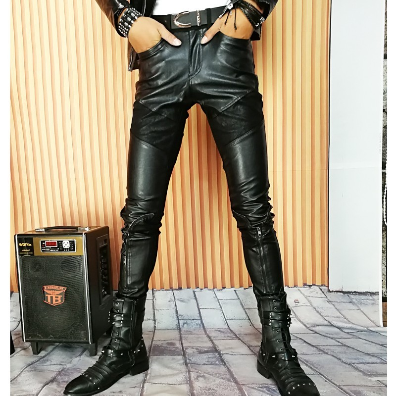 Fashion Mens Pu Leather Pencil Pants Skinny Buttons Patchwork Long Trousers Man Punk Style Biker Faux Leather Pants Plus Size 37
