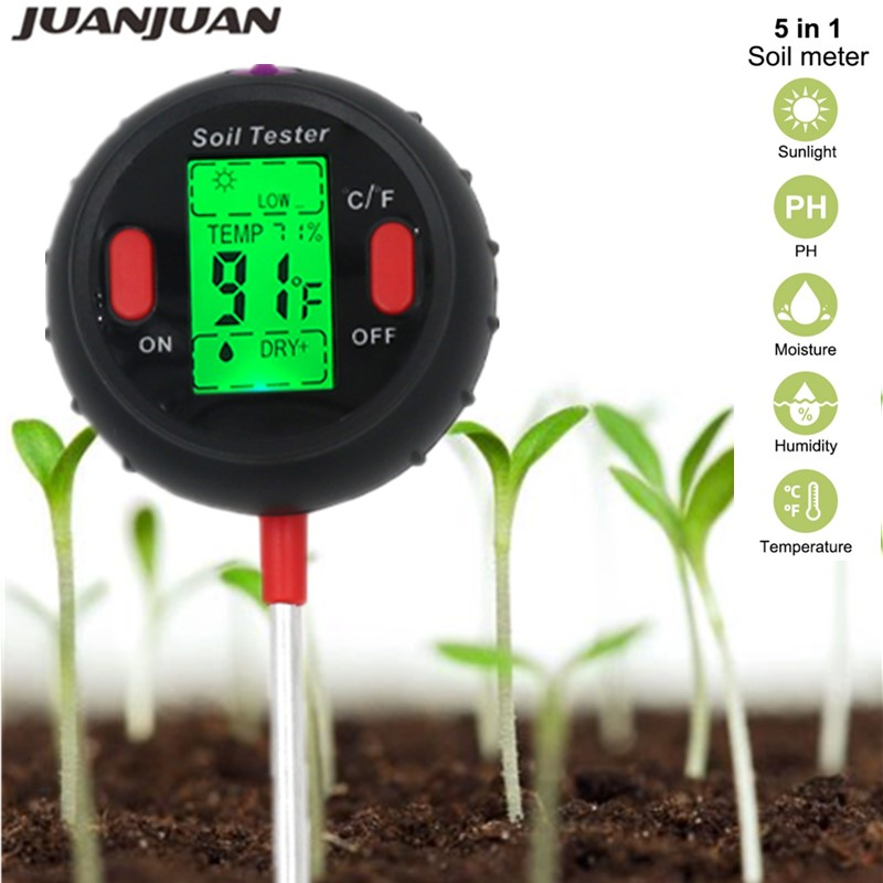 5 in 1 PH Soil Tester Water Moisture Meter Humidity Thermometer  Photometer Water Meter Garden Plants Hydroponics Analyze 40%offPH  Meters