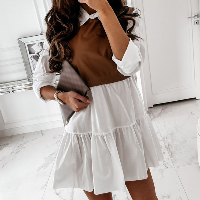 Women Faux Leather Patchwork White Shirt Dress 2021 Spring Casual Long Sleeve Plaid Chic Dress Lady Mini A Line Office Vestidos 3