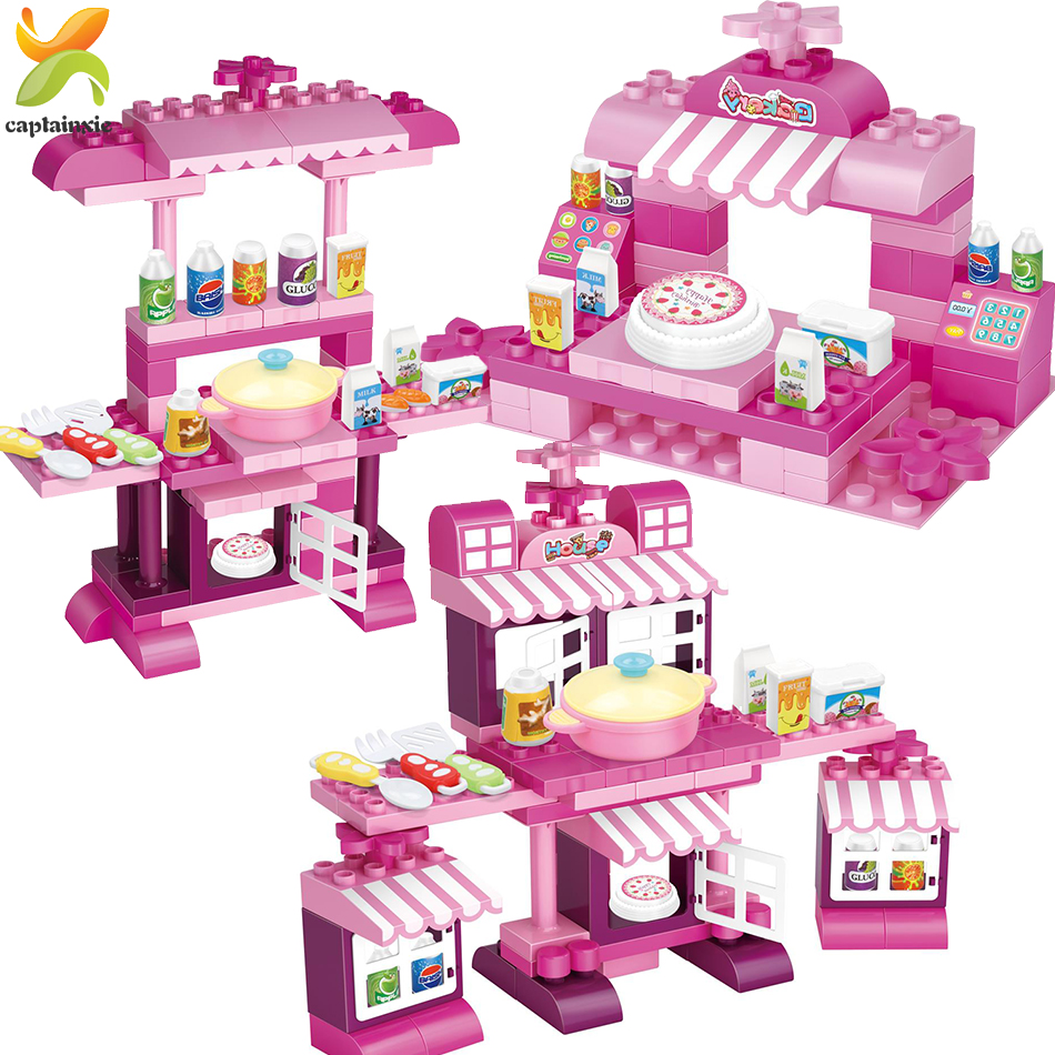 56-85pcs Large Particles Cooking Table Kitchen Model Building Blocks Girl Friend Play House Assemble Brick Toy for Children Gift image