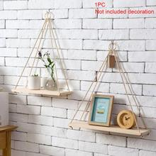 1pc 35cm/45cm Nordic Style Wooden Ornaments Storage Rack Wall Rope Hanging Shelf Holder for Room Home Cafe Office Decor