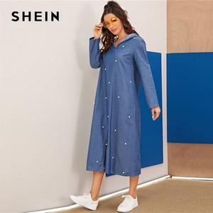 Image 3 - שיין כחול העבאיה פניני חרוזים פיצול Hem ינס הסווטשרט שמלת נשים סתיו ארוך שרוול מוצק Loose מקרית ארוך שמלות