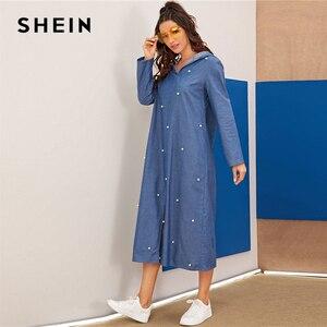 Image 3 - Shein vestido jeans com capuz abaya, vestido feminino folgado manga comprida liso casual