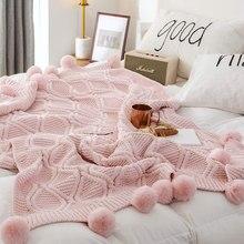 Regina chenille xadrez inverno lance cobertor rosa marfim cinza pompom malha colcha presente super macio sofá cama chunky malha cobertor