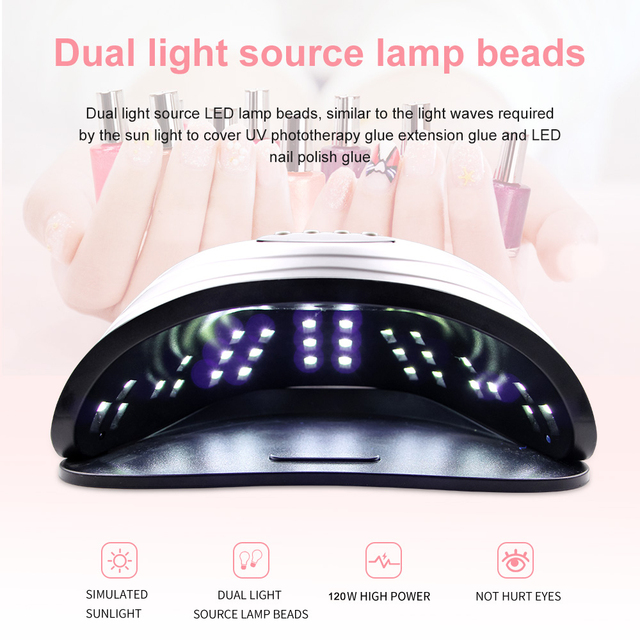 120W LED Nail Lamp Nail Dryer Dual hands 42PCS LED UV Lamp For Curing UV Gel Nail Polish With Motion Sensing Manicure Salon Tool 2