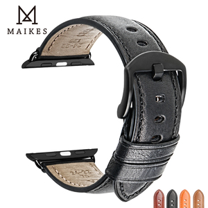 Image 2 - MAIKES Genuine Leather Watch Band For Apple Watch 44mm 42mm 40mm 38mm Series 4/3/2/1 Men & Women iWatch Strap Watchband