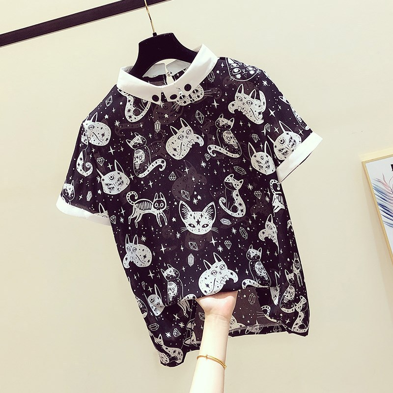 New Women 2020 Summer Blouse Chiffon Shirt Fashion Cat Print Top Office Patchwork Short Sleeve Blouses Korean Lady Slim Blusas