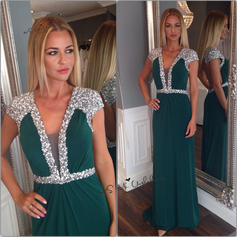 Women 2020 Formal Crystal Prom Dress Long Luxury Chiffon Backless Party Dresses Cap Sleeve Green Evening Gown Special Occasion