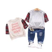 Весенне осенний комплект одежды для малышей; Детская футболка