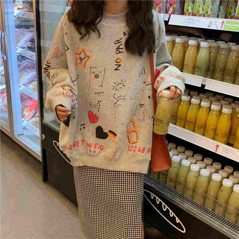 Nicemix In Oversize Mùa Thu Mới Thời Trang Hàn Quốc Nữ Harajuku Ulzzang Dài Tay Khoác Áo Nỉ