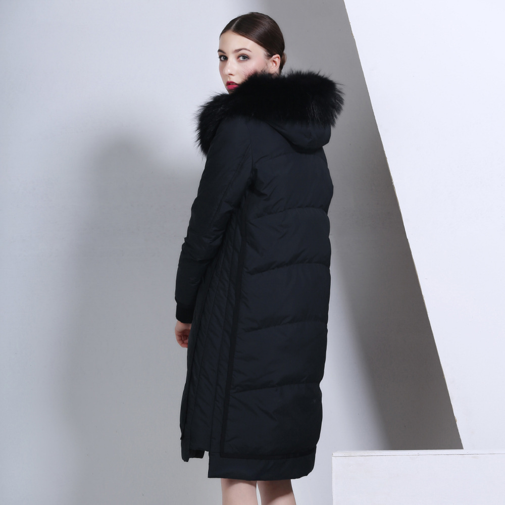 Luxury Natural Raccon Fur Winter 95% Down Jacket Women Long Parka Hooded Thick Overcoat Female Plus Size LX996