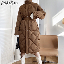 Puffer Jacket Rhombus-Pattern Coat Outerwear Parkas Wind-Proof Thick Long Winter Casual