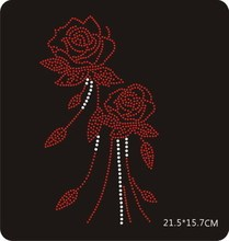 2pc/lot Red rose  sticker iron on rhinestone transfer designs hot fix motifs patches for sweater