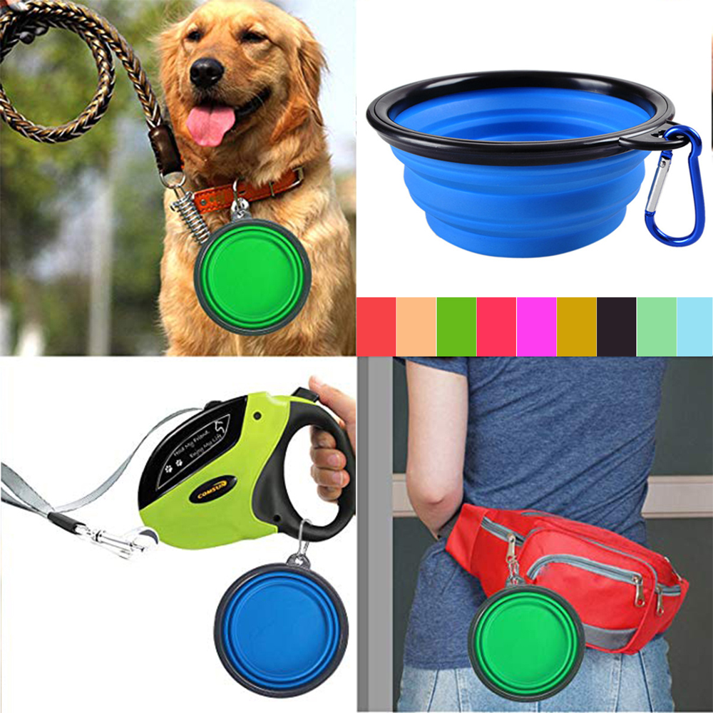 Collapsible Dog Bowl Portable Folding 10 Colors For Pet Feeding Dog Cat Food Drinker Bowl Foldable Travel Bowl For Dogs FD0059