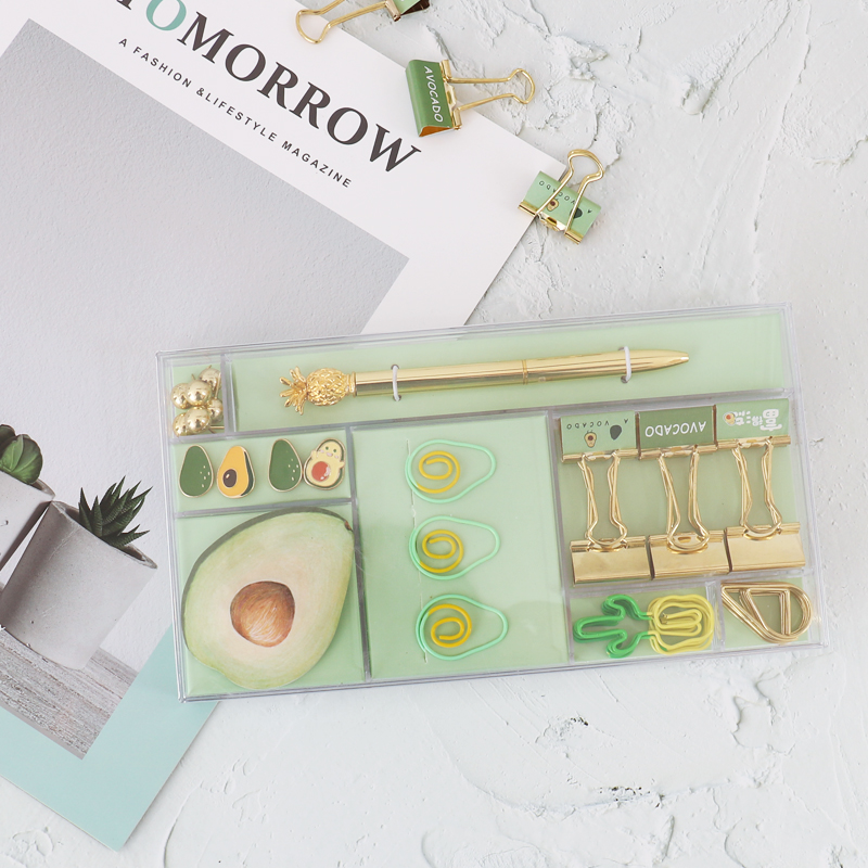 TUTU Avocado Season Fruit Stationery Set Gift Stationery Paper Clips Binder Clip Pen For Girls Office & School Supplies H0347