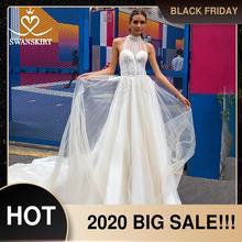 Swanskirt romântico a linha vestido de casamento 2020 boho frisado apliques ilusão trem princesa vestido de noiva novia f133