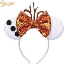 Блестящие уши Минни-Маус, повязка на голову, Женская лента для волос на День святого Валентина с блестками и бантом для девочек, аксессуары для волос, новинка, повязки на голову