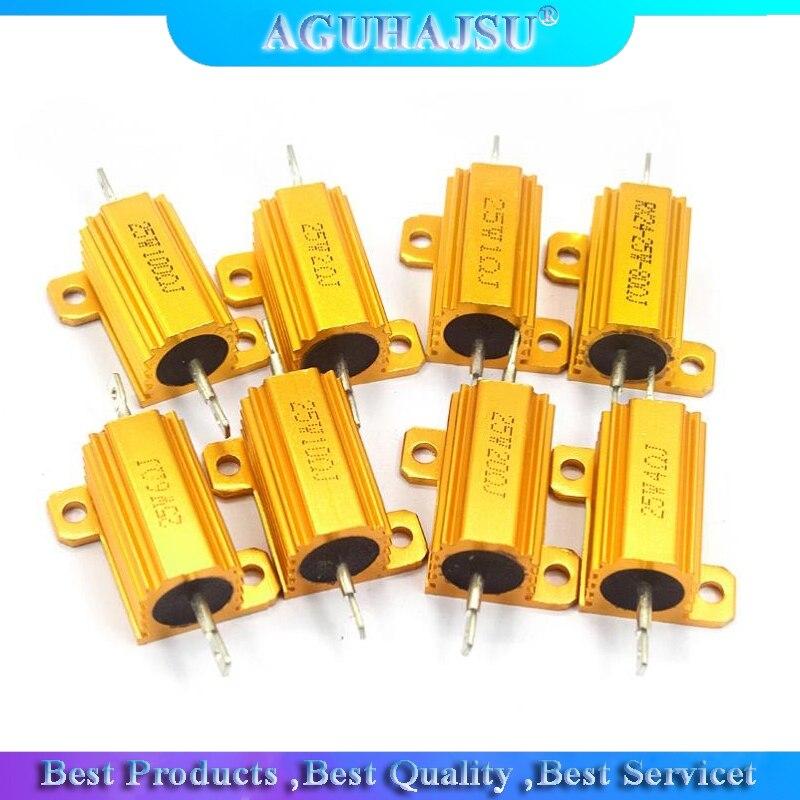 25W Aluminum Power Metal Shell Case Wirewound Resistor 0.01 ~ 30K 0.05 0.1 0.5 1 2 3 5 6 8 10 20 100 150 200 300 500 1K 10K ohm