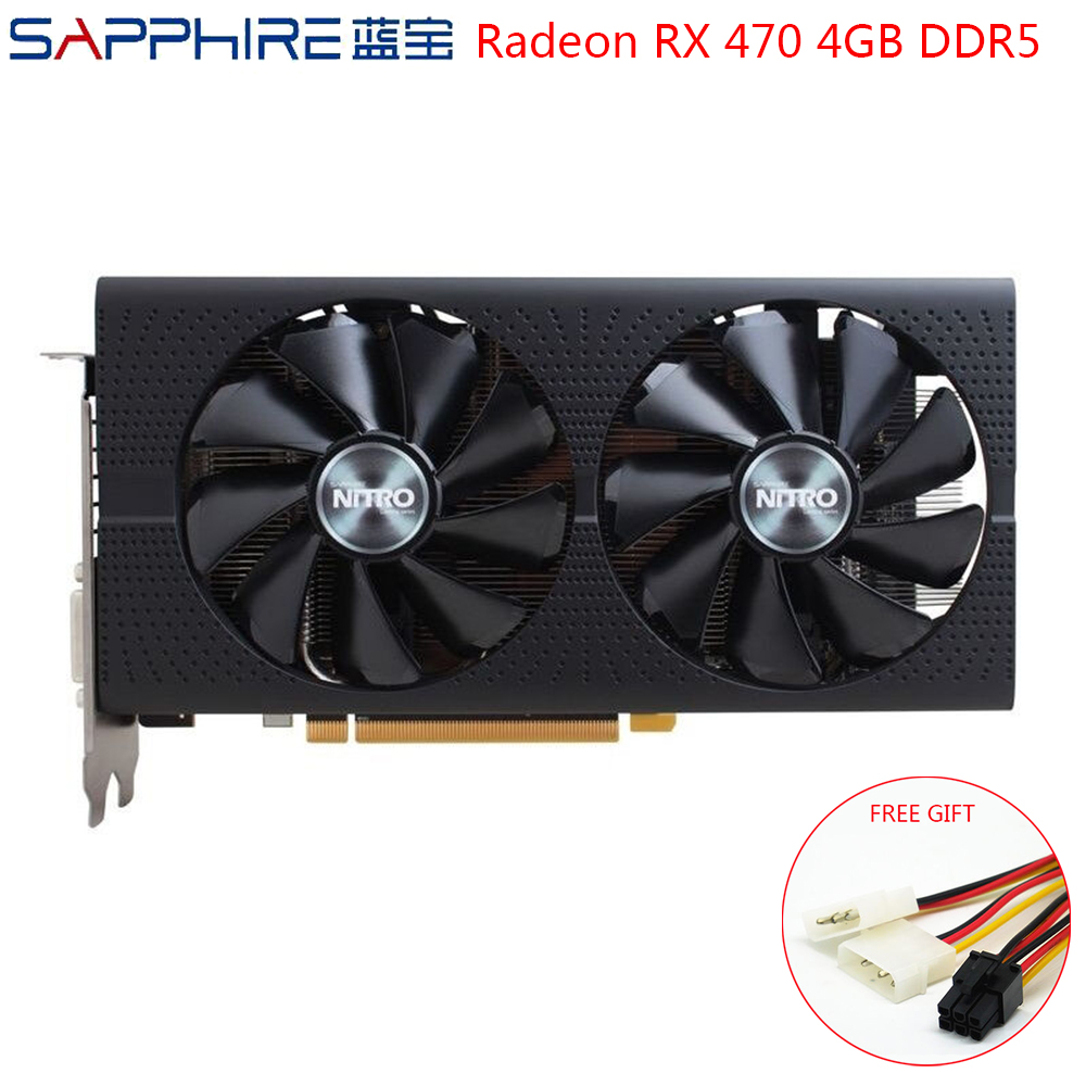 SAPPHIRE AMD Radeon RX470 4GB DDR5 Graphics Cards Gaming PC Video Card GPU RX470 256bit GDDR5 PCI Express 3.0 Desktop Used Cards