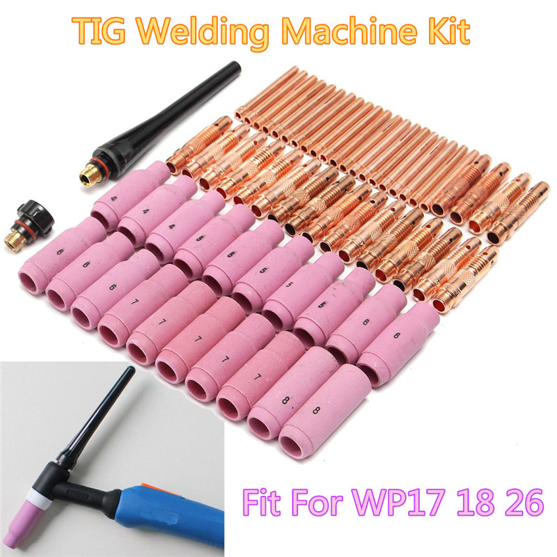 Tools : 62Pcs TIG Welding Torch Ceramic Copper Nozzle Pyrex Cup for Welding Machine WP-26 17 18 Kit