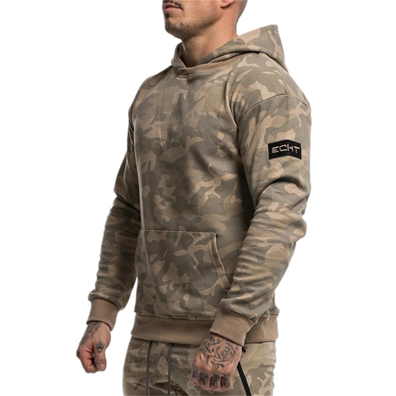 YEMEKE New Fitness Hoodies Men Autumn Fashion Brand Fashion Camouflage Sportswear Sweatshirt Men's Track Outdoor Sweatshirts