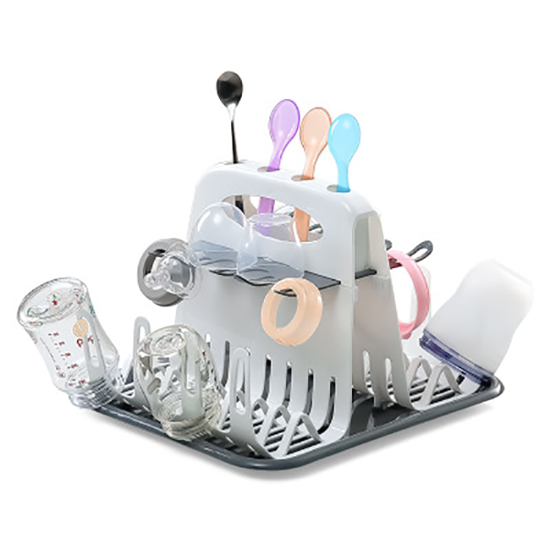 Baby Milk Bottles Drying Rack Portable Cleaning Dryer Storage Holder Multi-layer Detachable With Drain Tray Drying Rack For Kids