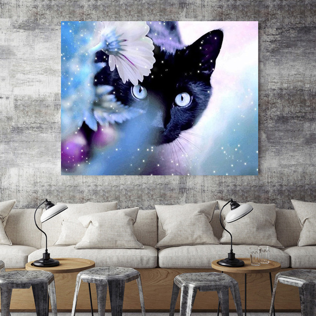 HUACAN Diamond Mosaic Cat Full Square Diamond Embroidery Sale 5d Diamond Painting Rhinestone Picture Home Decorations
