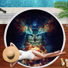 Printed Owl Beach Towel Round Microfiber Beach Towels Large Blanket Picnic Yoga Mat Travel Sunbath Bath Towel Toalla De Playa 2019 geometric patterns summer round beach towel with tassels beach covers bath towel picnic yoga mat for adult toalla de playa