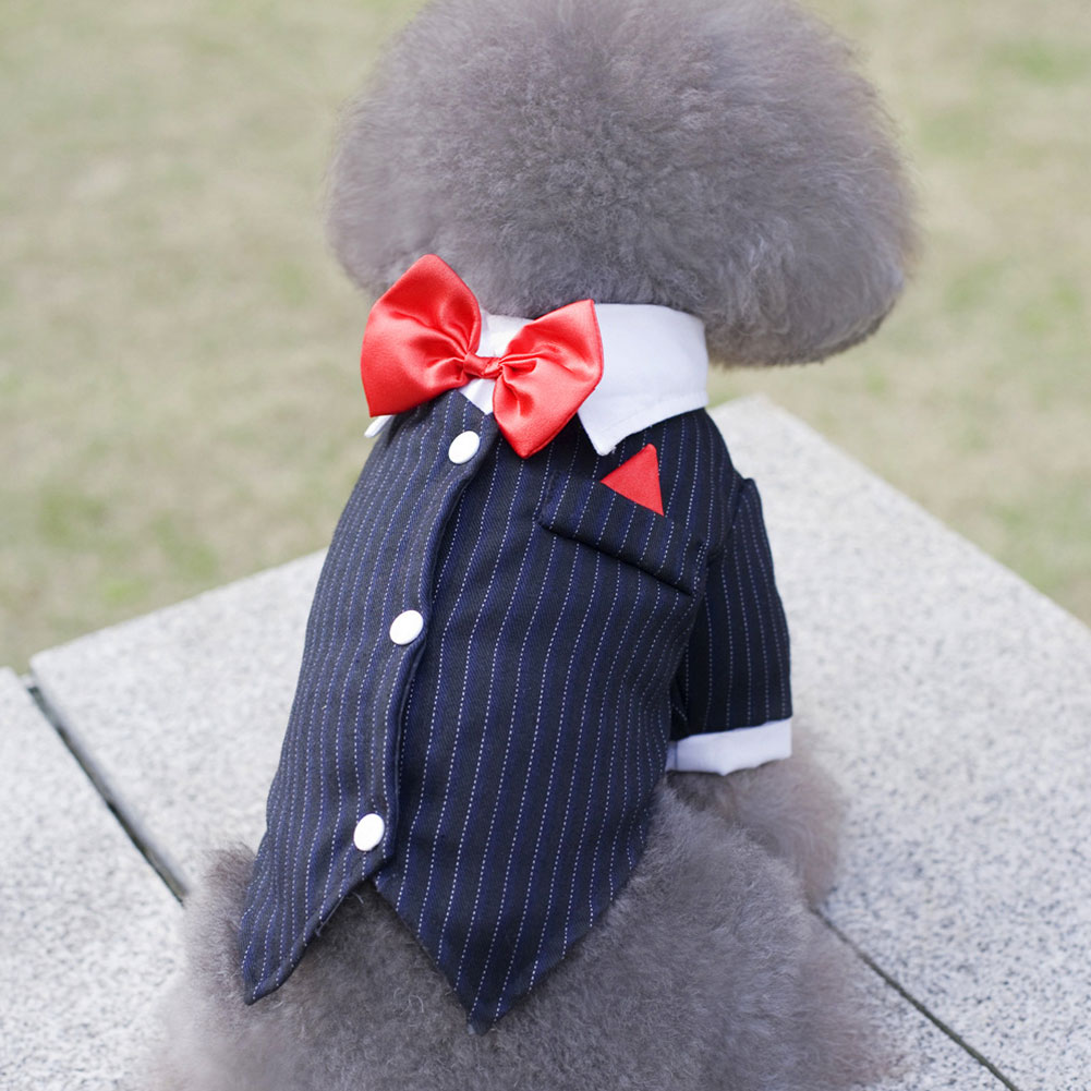 Christmas Formal Gentleman Dog Tuxedo Dress Fashion Striped Bow Tie Costumes Puppy Pet Clothing Wedding Party Prince Cute