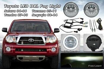 цена на White  Cree LED Daytime Running Light Fog Lamps For Toyota Tundra Tacoma Sequoia or Solara