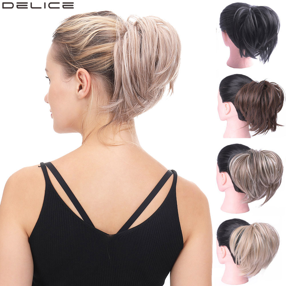 Delice Women Elastic Straight Bun Donut Chignon Rubber Band Synthetic Hair Scrunchie Wrap On Hair Ring For Ponytail Hairpieces