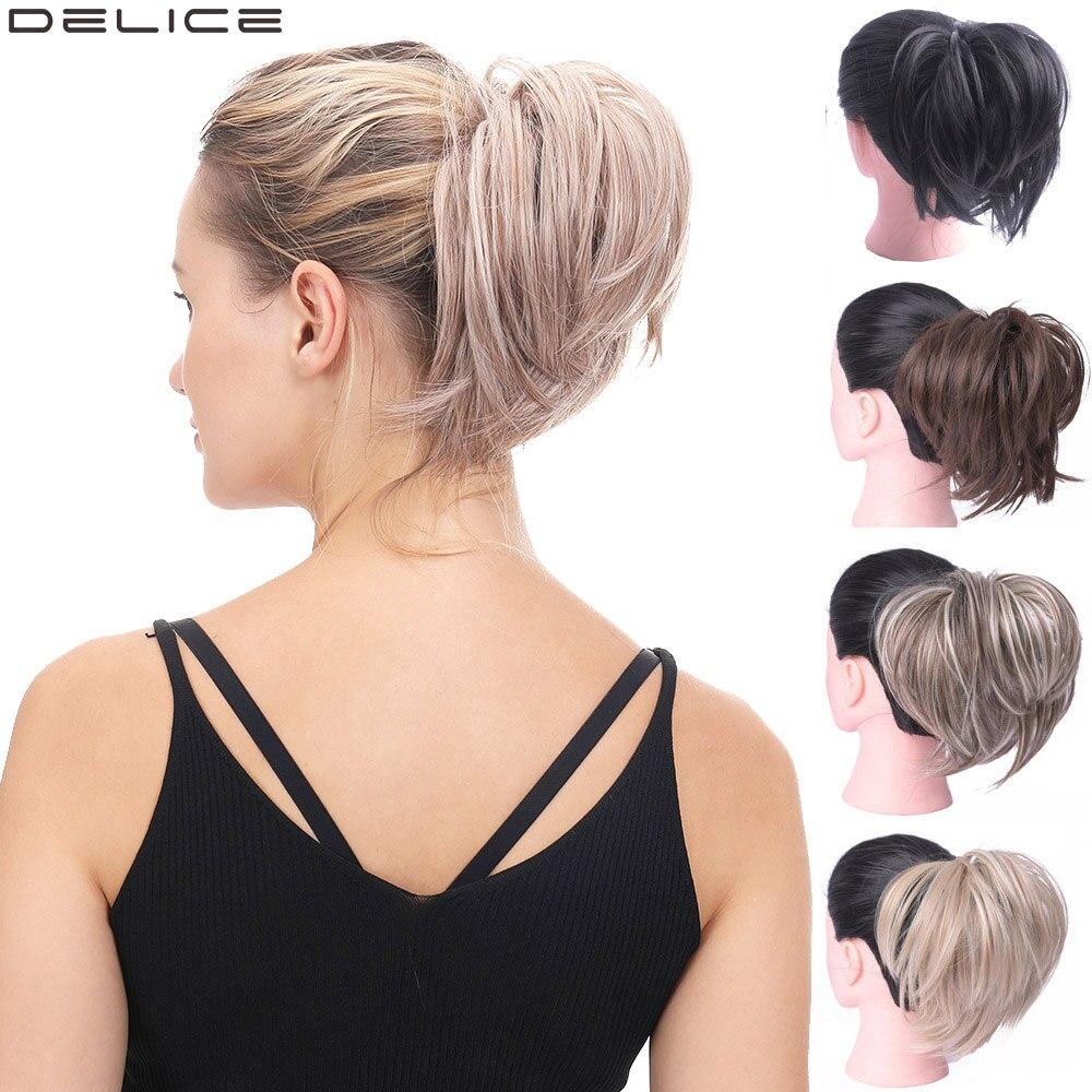 Женский эластичный прямой пучок Delice, Пончик шиньон, Резиновая лента, искусственные волосы, кольцо для волос для конского хвоста