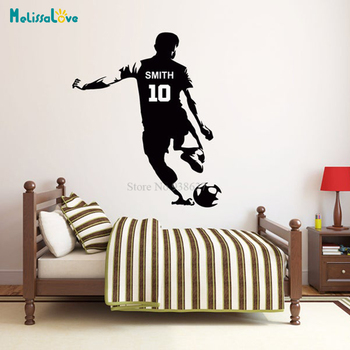 Sportman Football Custom Name And Number Wall Sticker Decal Personalized Playroom Bedroom Decal Removable Vinyl Sticker BB240 image